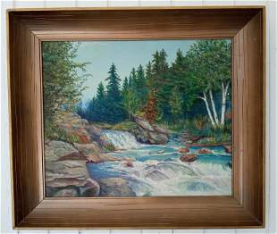 1958 Thomas D. Hudson River Sch Plaint Air Oil Painting