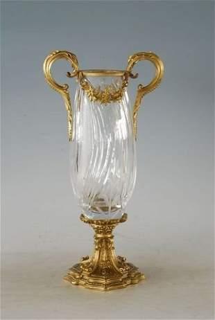 Bronze Sculpture and Floral Faceted Crystal Vase Urn