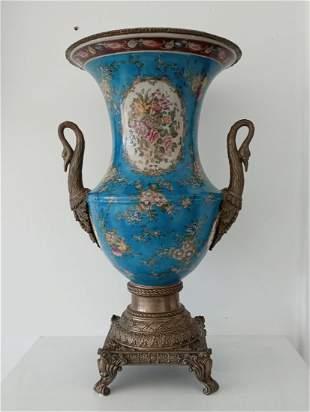 Large Hand Painted Porcelain Vase Urn Bronze Swan