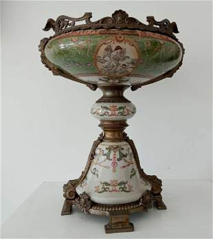 Large Green Hand Painted Porcelain Vase Urn Bronze