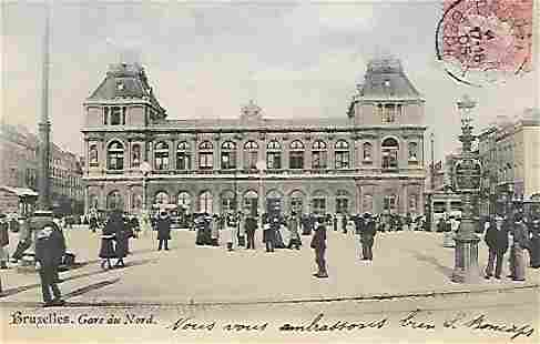Paris-Bruxelles Litho Post Card Canceled Stamp