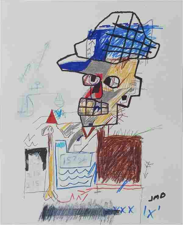 Michel Basquiat-NY - Asbestos- Mixed Media Painting