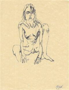 Original Rare Surrealism Hand Painting Ink.Human Female