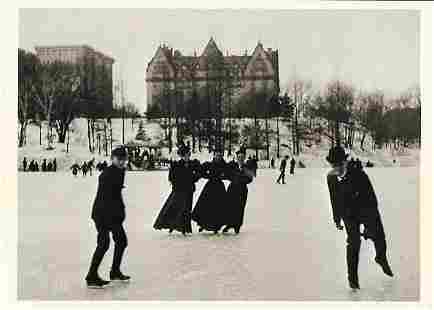 Vintage Postcard Skating in Central Park1894 Photo By B