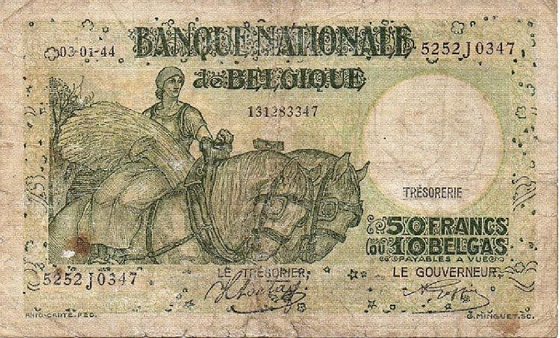 50 FRANCS - 10 BELGAS 1944 BELGIUM PAPER MONEY