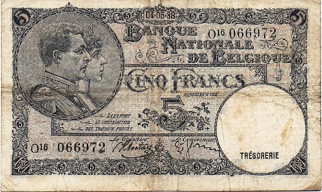 5 FRANCS 1938 (ERROR DATE) 4,5,88 RARE BELGIUM PAPER