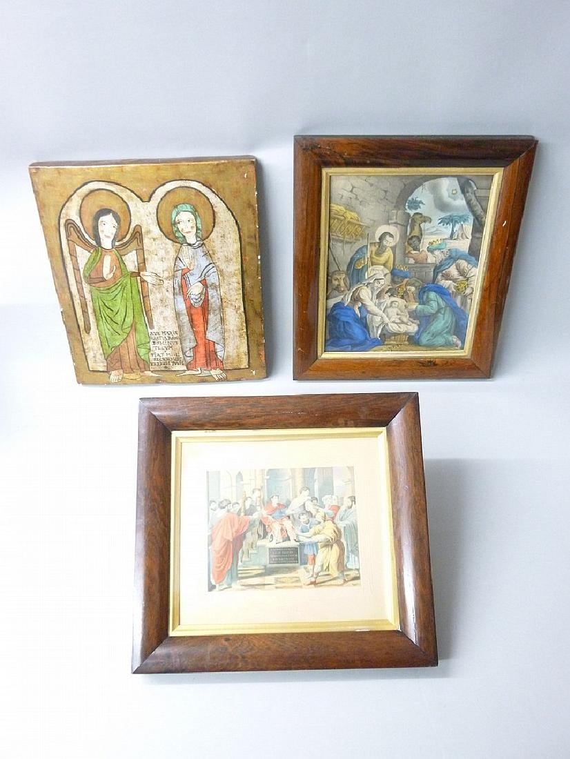 A RELIGIOUS ICON,  A FRAMED NATIVITY SCENE AND ANOTHER
