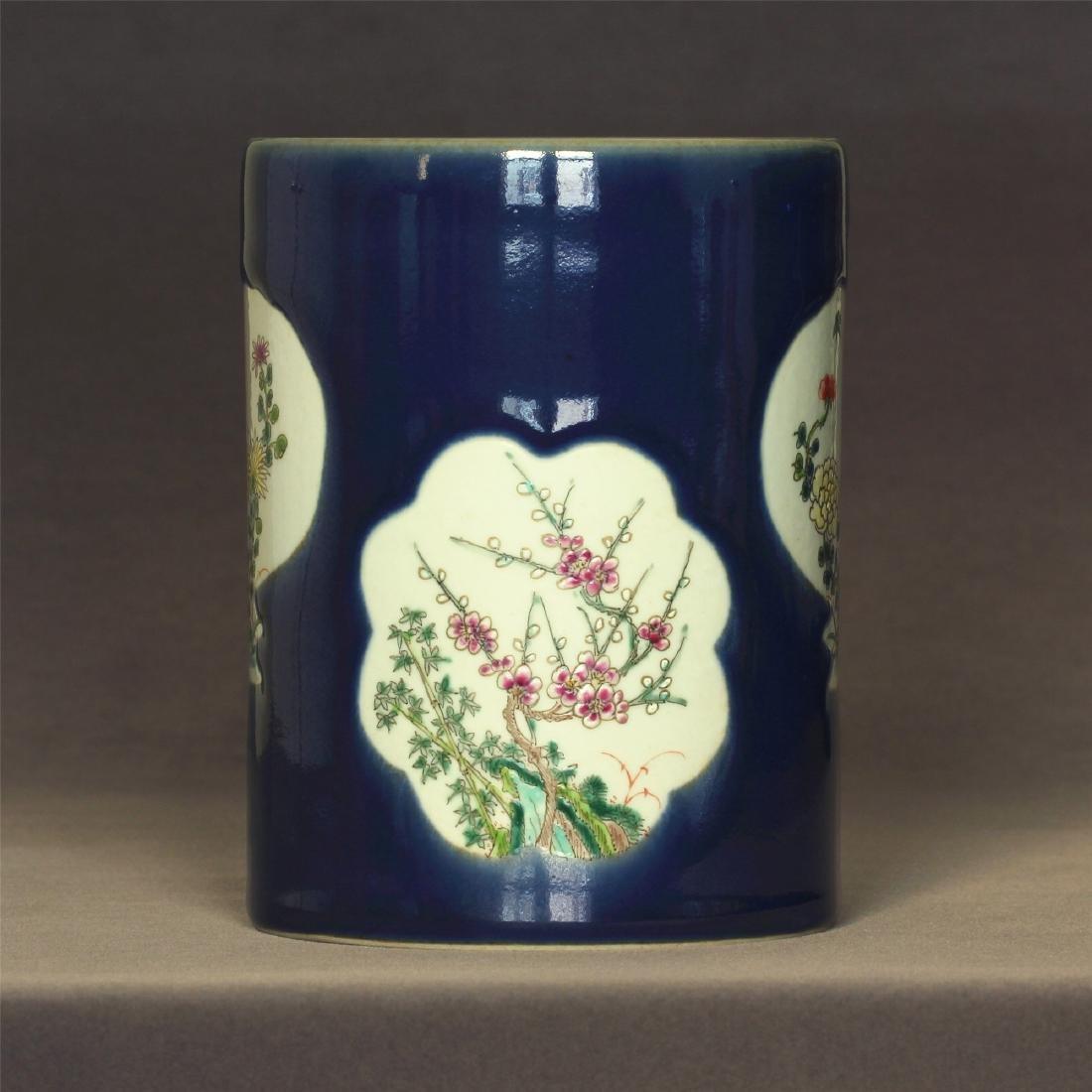 Blue glaze and famille rose porcelain brush pot  of