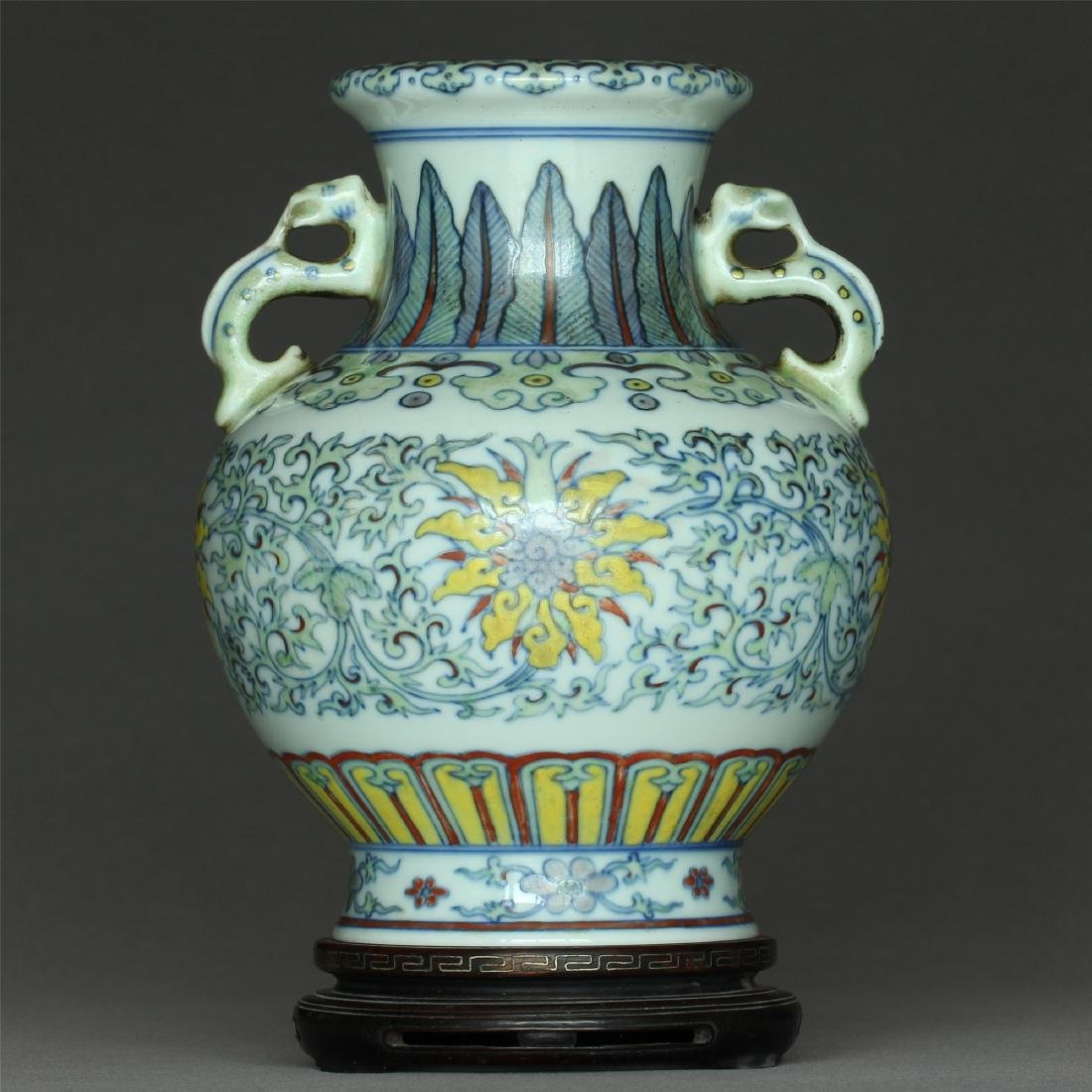 Doucai porcelain vase of Qing Dynasty QianLong mark,