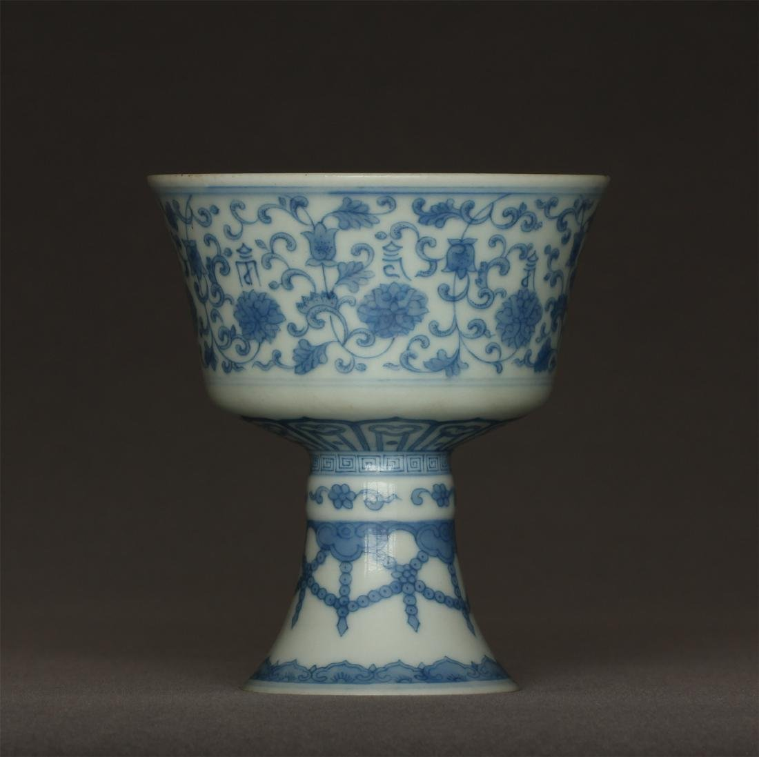 Blue and white porcelain chalice of Qing Dynasty