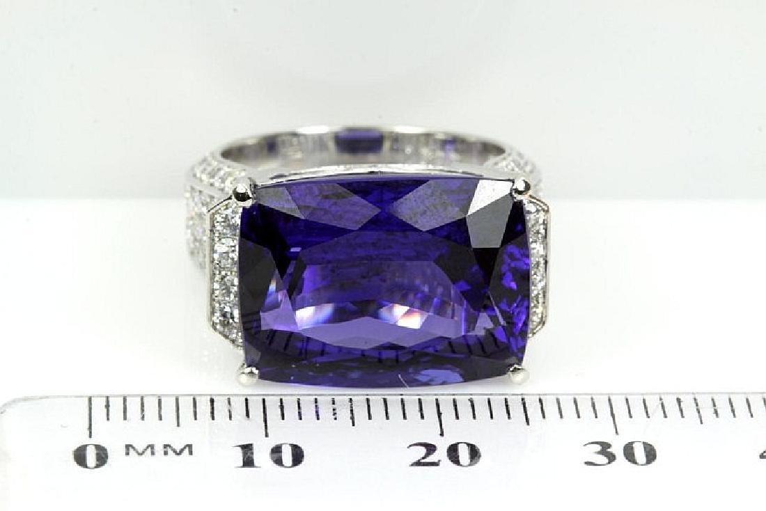 Cushion cut Tanzanite and Diamond Ring