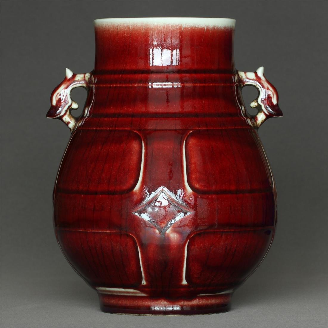 Red glaze porcelain vase of Qing Dynasty QianLong mark.
