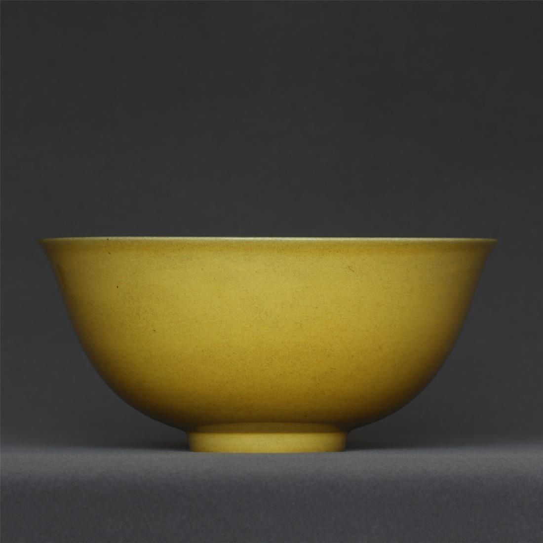 Yellow glaze bowl of Ming Dynasty HongZhi mark.