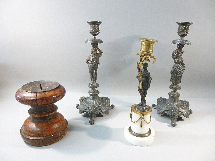 PAIR OF CONTINENTAL PARTIALLY GILDED PEWTER