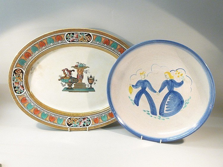 VICTORIAN GRECIAN OVAL DISH AND A NORWEGIAN CIRCULAR