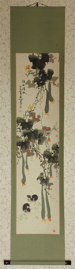 Chinese Ink & Color Scroll Hand Painting. With box.