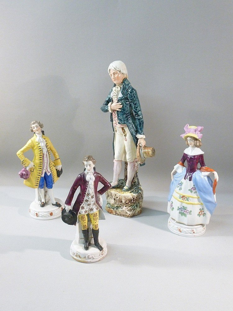 4 CONTINENTAL PORCELAIN FIGURINES