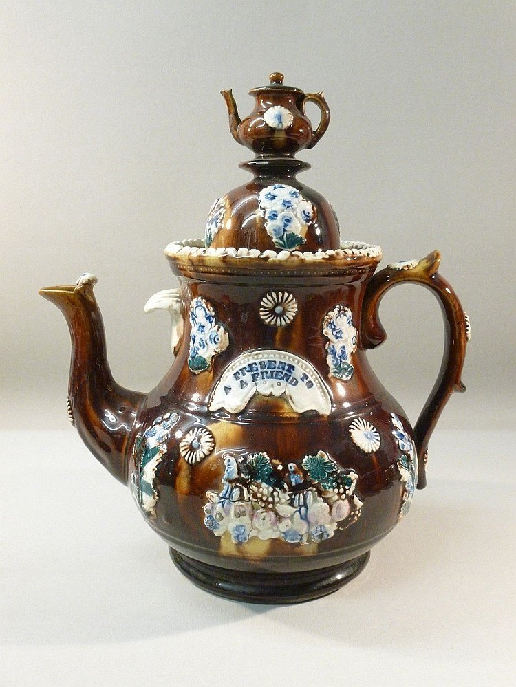 """LARGE BARGEWARE TEAPOT WITH TEAPOT COVER INSCRIBED """"A"""