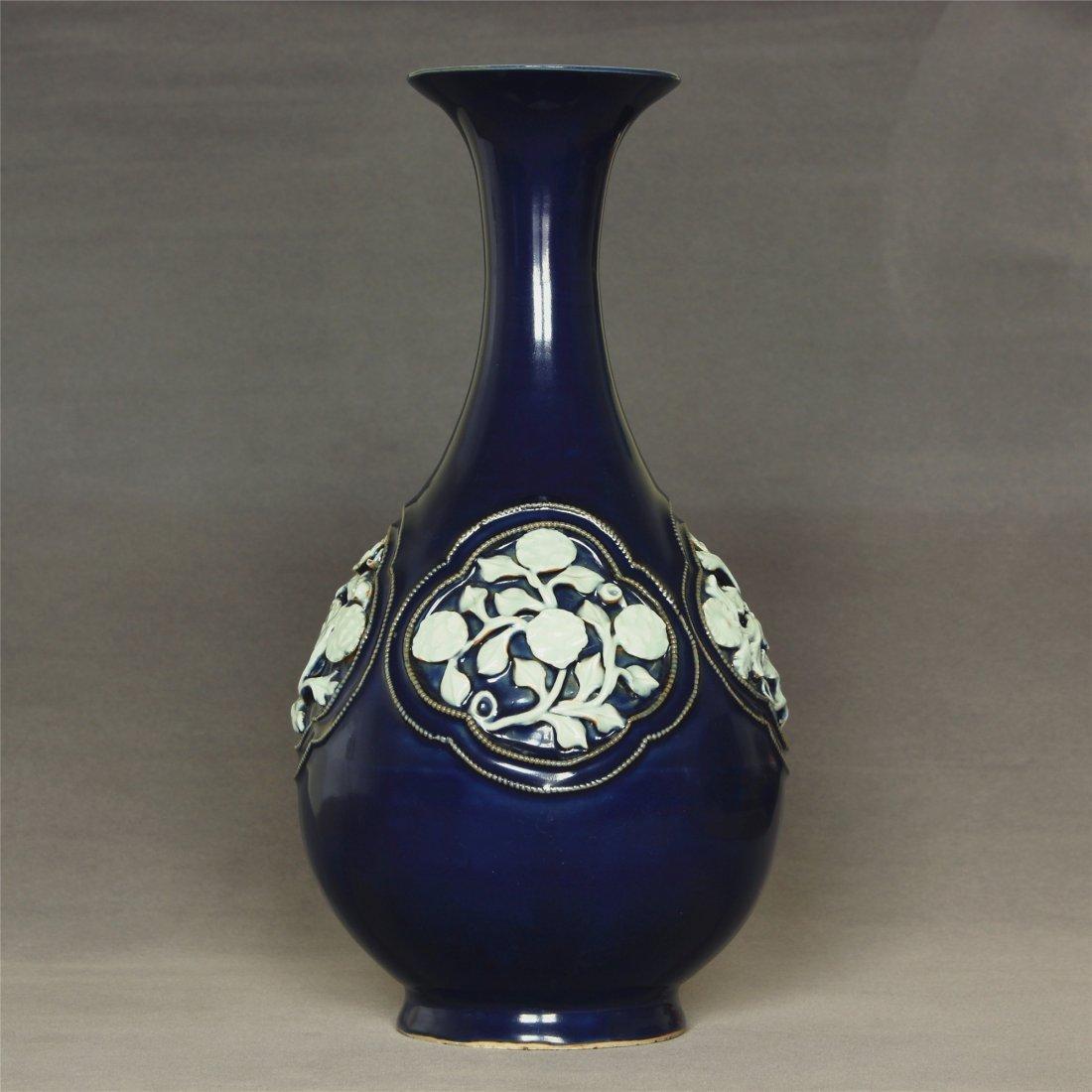 Blue glaze porcelain vase of Yuan Dynasty.