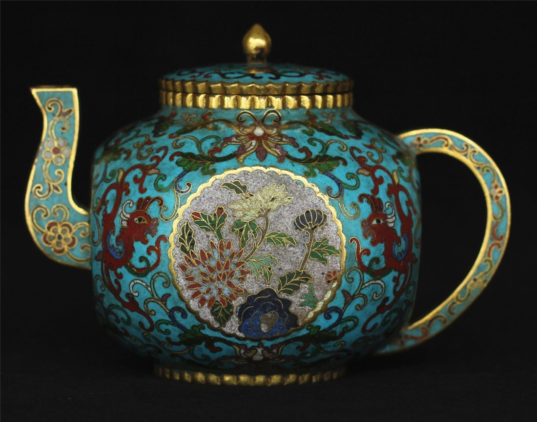 Cloisonne gilt pot of Qing Dynasty QianLong mark.