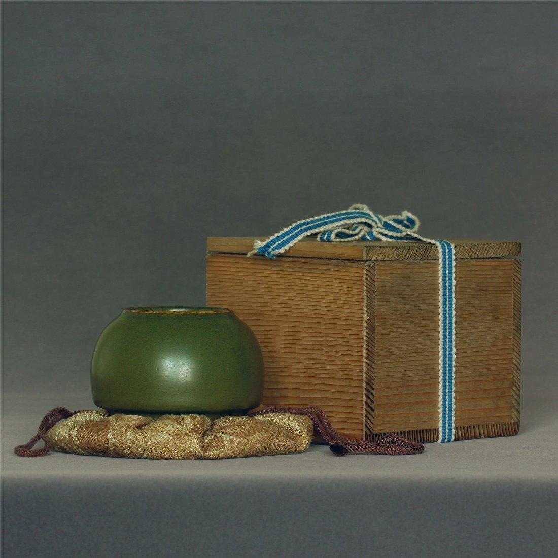 Tea glaze porcelain brush washer of Qing Dynasty