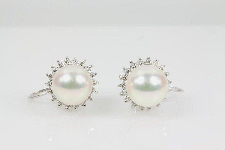 Akoya Pearl and Diamond Earrings