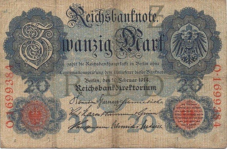 20 MARK 1914 GERMANY PAPER MONEY