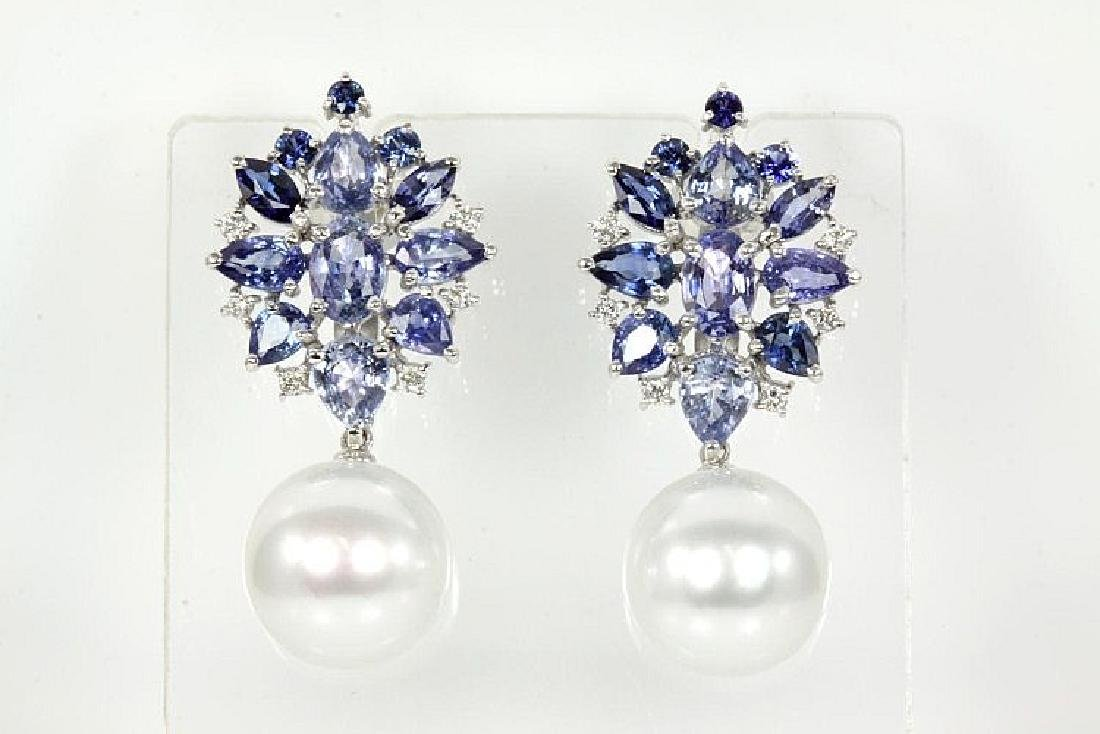 Blue Sapphire, Diamond and Pearl Earrings