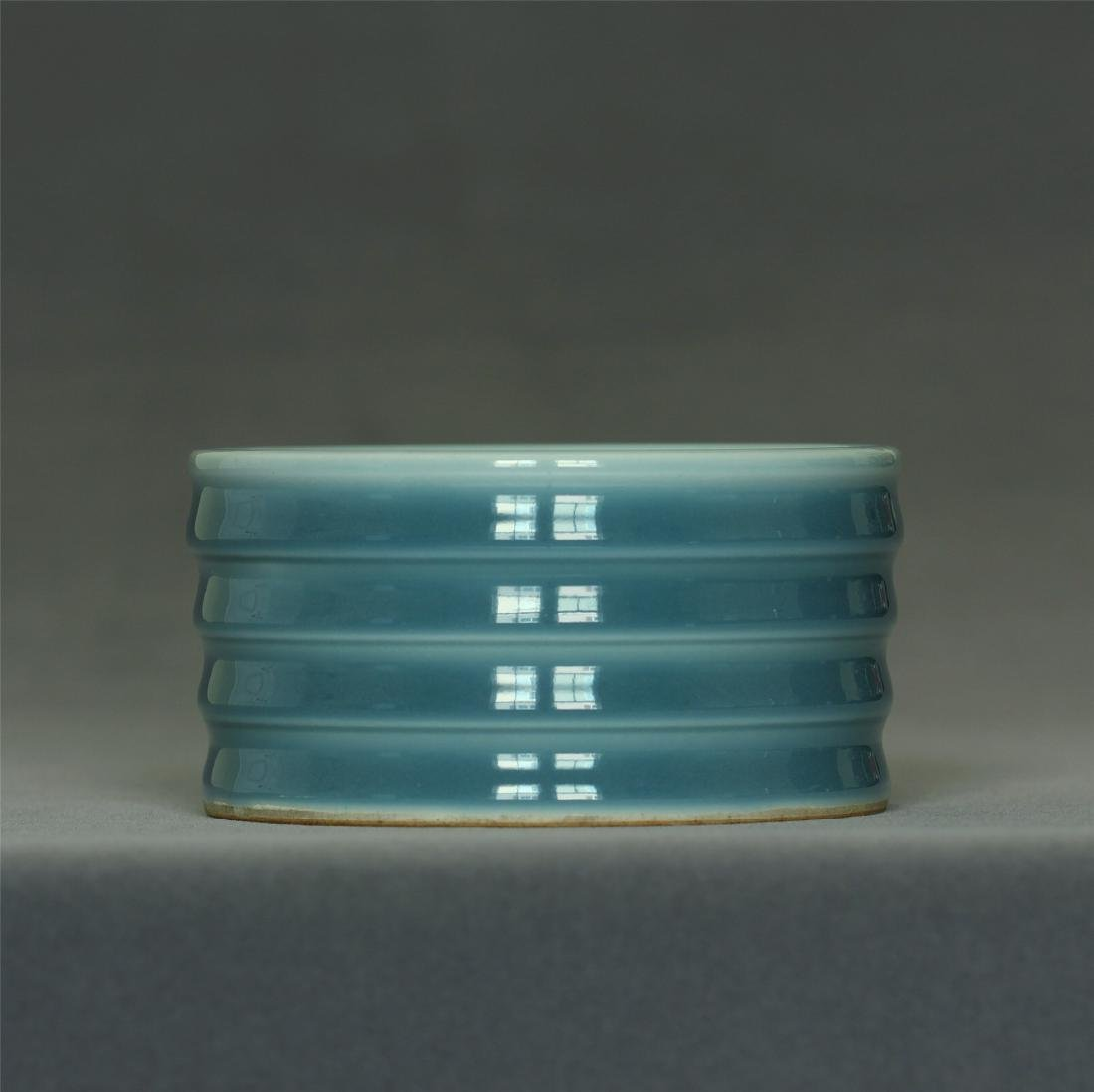 Blue glaze porcelain brush washer of Qing Dynasty