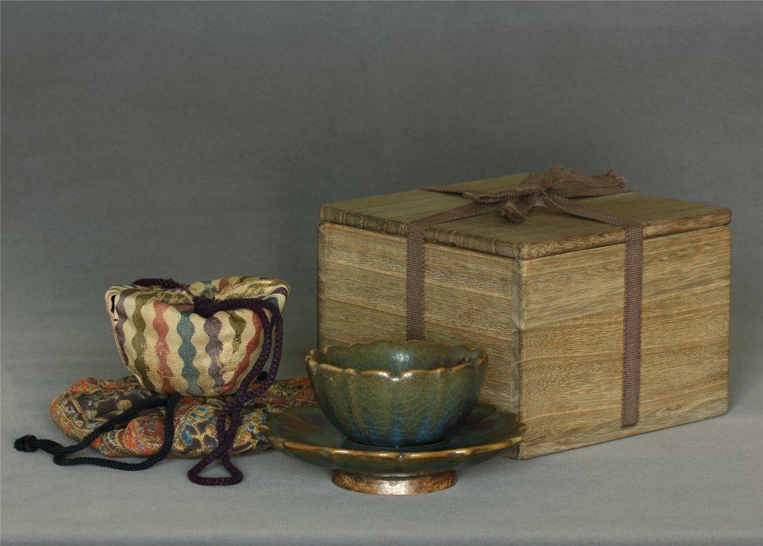 A Jun-Kiln Bowl and Base Song Dynasty. Contains box and