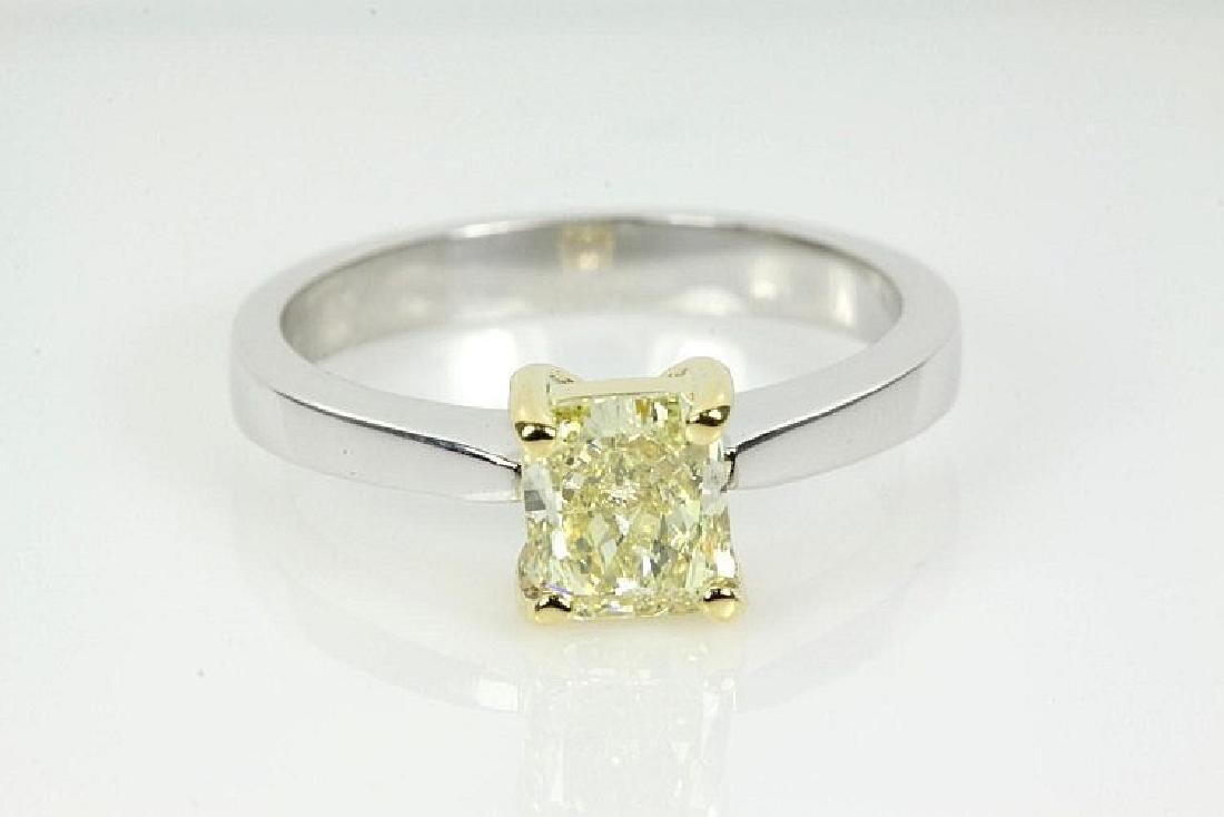 Fancy Yellow Radiant Cut Diamond Ring GIA