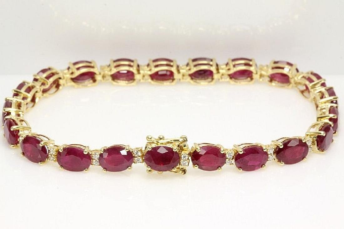 Oval Ruby 23.73cts and Diamond Bracelet