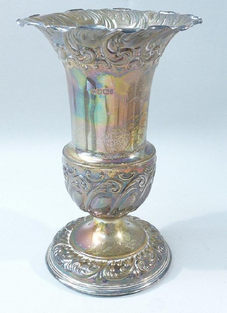 VICTORIAN SILVER CAMPANA-SHAPED VASE DECORATED WITH