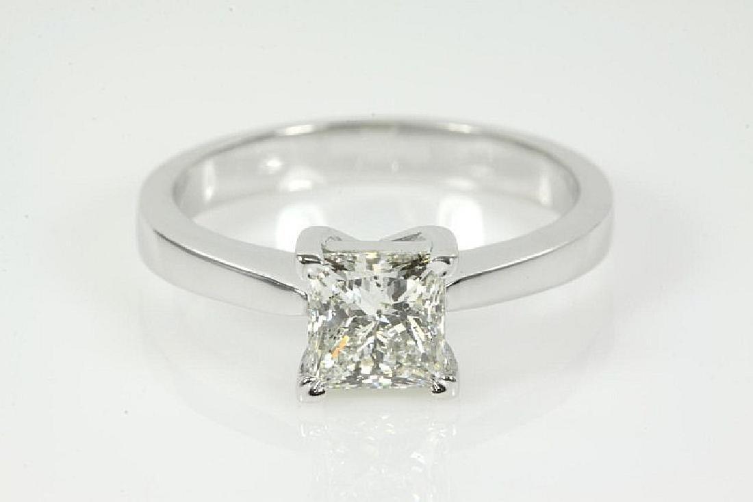 Princess cut Diamond Solitaire Ring 1.09ct J P2 GIA
