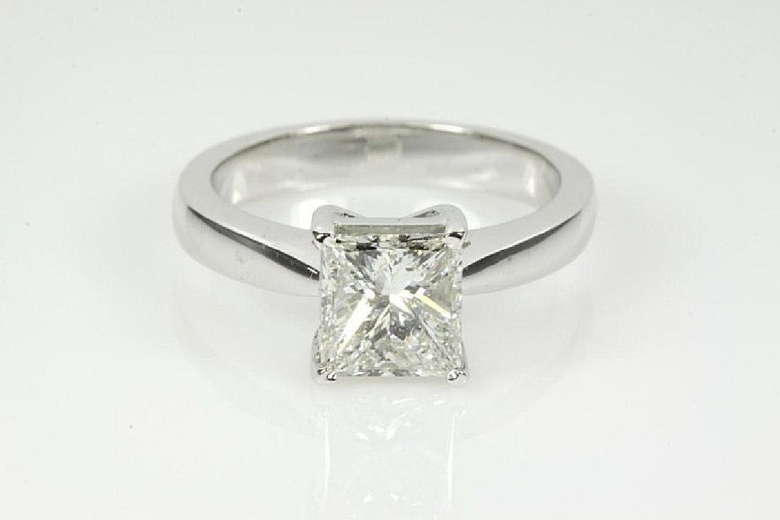 Princess cut Diamond Solitaire Ring 1.51ct G P1 GIA