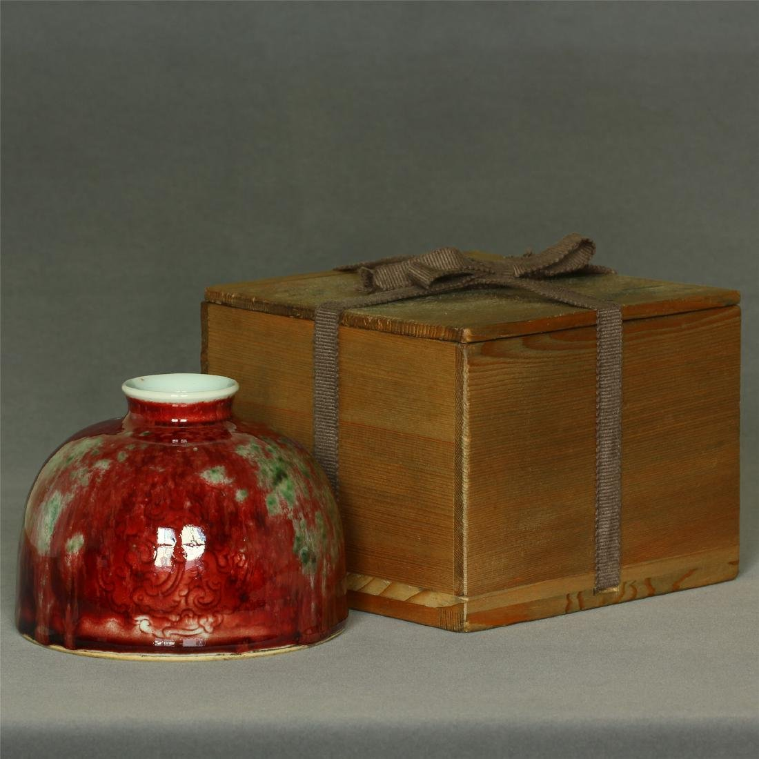 Red glaze vase of Qing Dynasty KangXi mark.