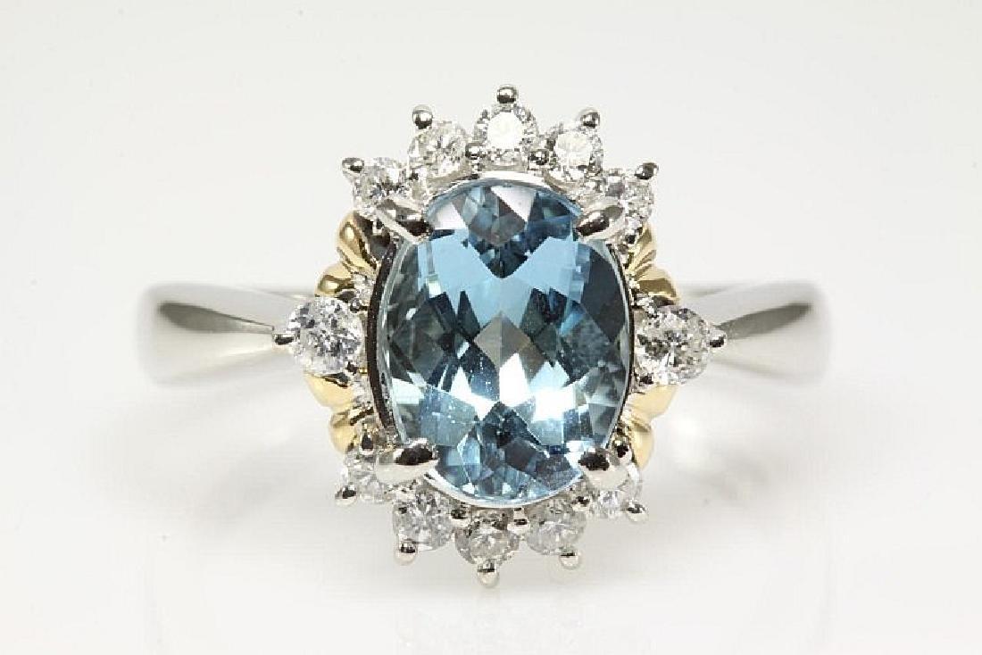 Oval Aquamarine and Diamond Ring 1.65ct
