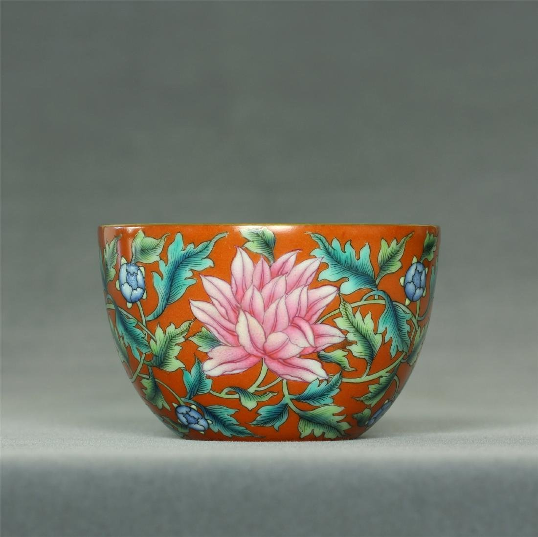 Famille rose porcelain cup of Qing Dynasty YongZheng