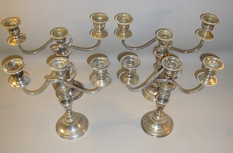 TWO PAIRS OF SILVER PLATED CANDELABRA (H: 28 cm & 32.5