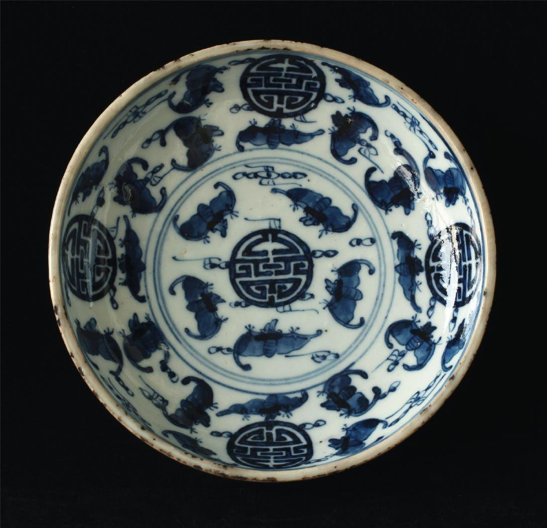 Blue and white porcelain plate of Ming Dynasty.