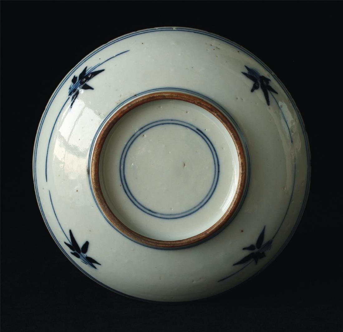 Blue and white porcelain plate of Ming Dynasty. - 2
