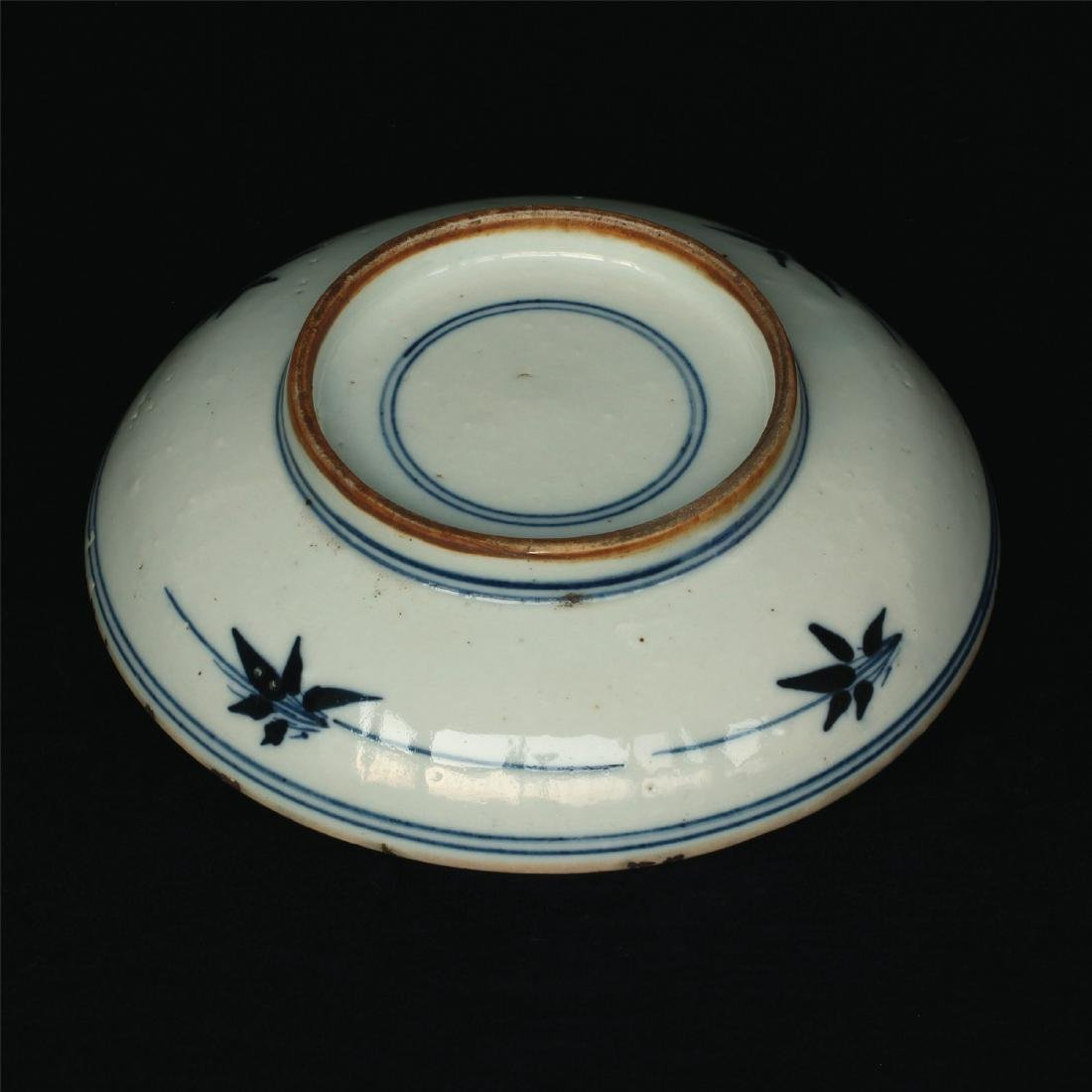 Blue and white porcelain plate of Ming Dynasty. - 4