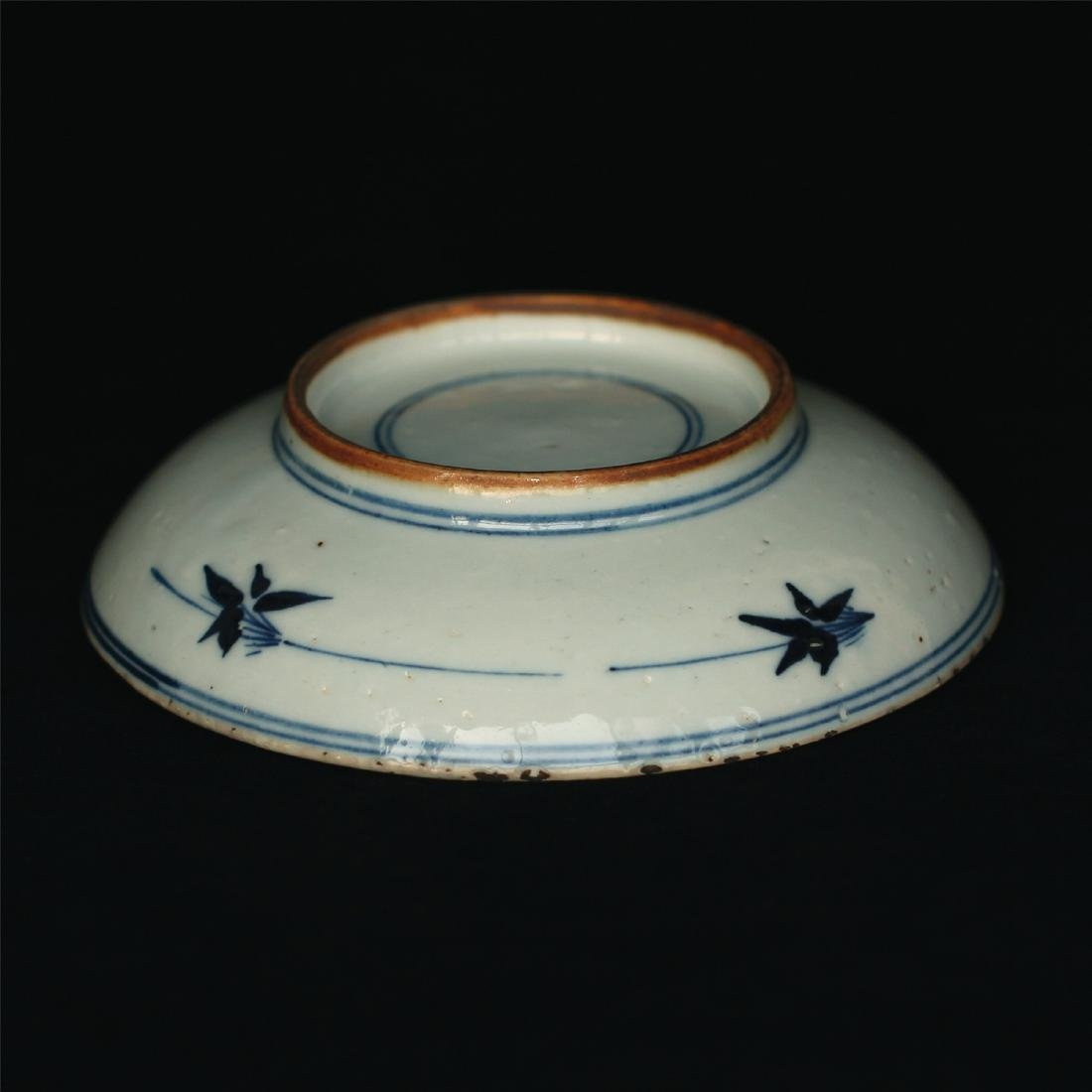 Blue and white porcelain plate of Ming Dynasty. - 5
