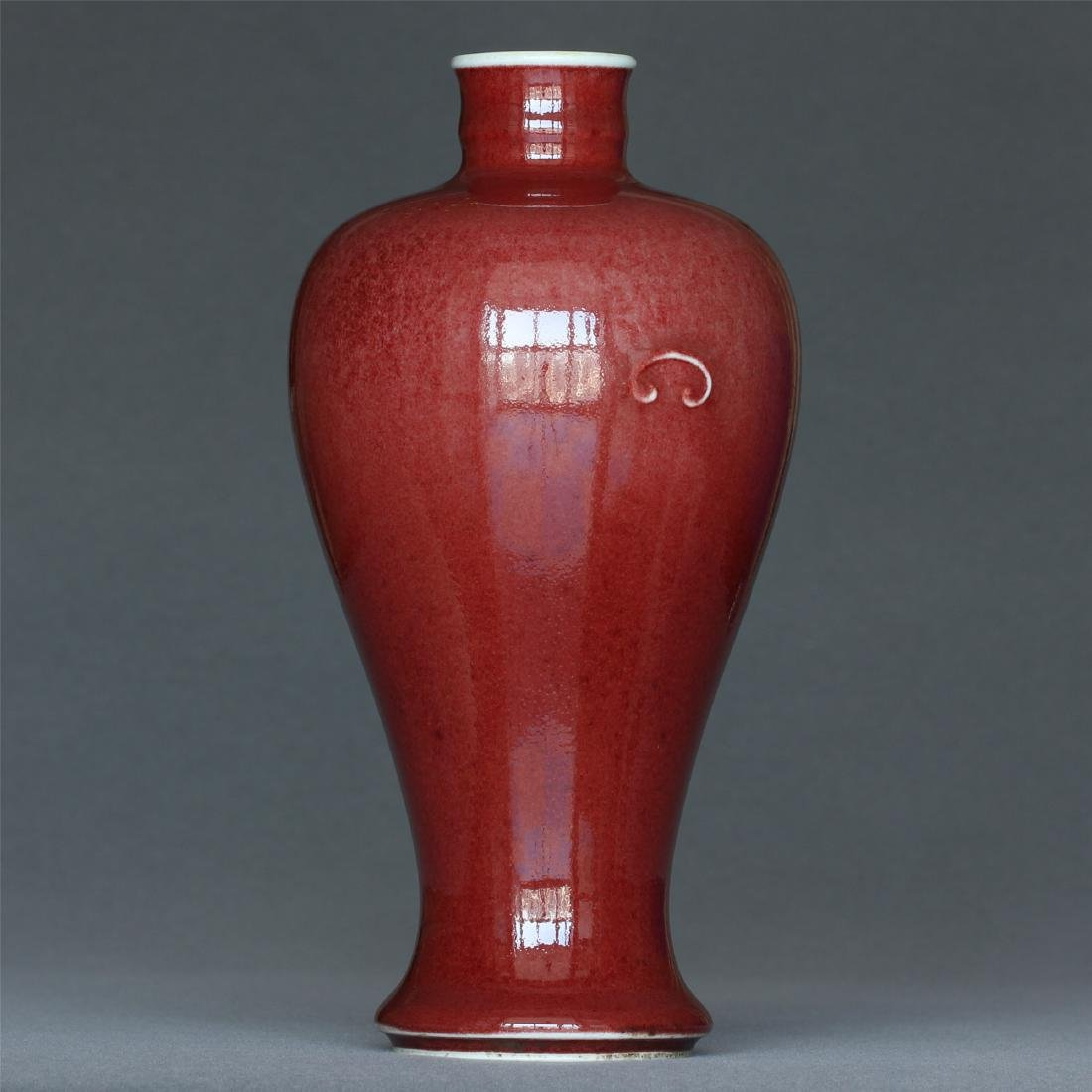 Red glaze porcelain vase of Qing Dynasty KangXi mark. - 3