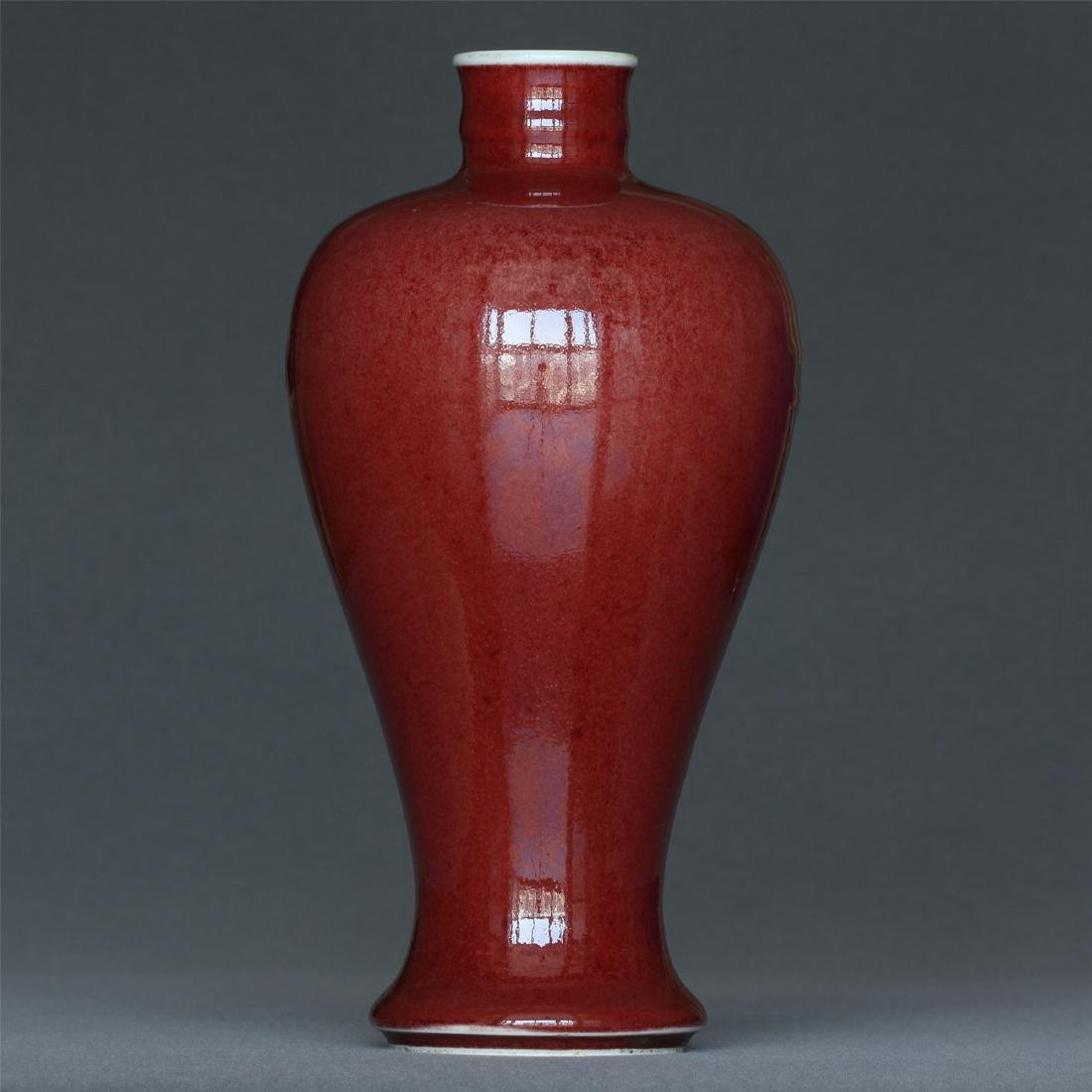 Red glaze porcelain vase of Qing Dynasty KangXi mark. - 4