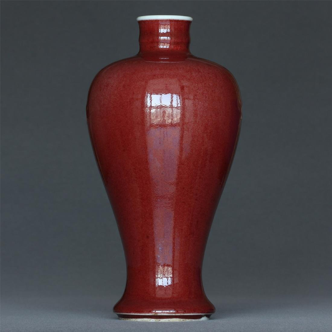 Red glaze porcelain vase of Qing Dynasty KangXi mark. - 5
