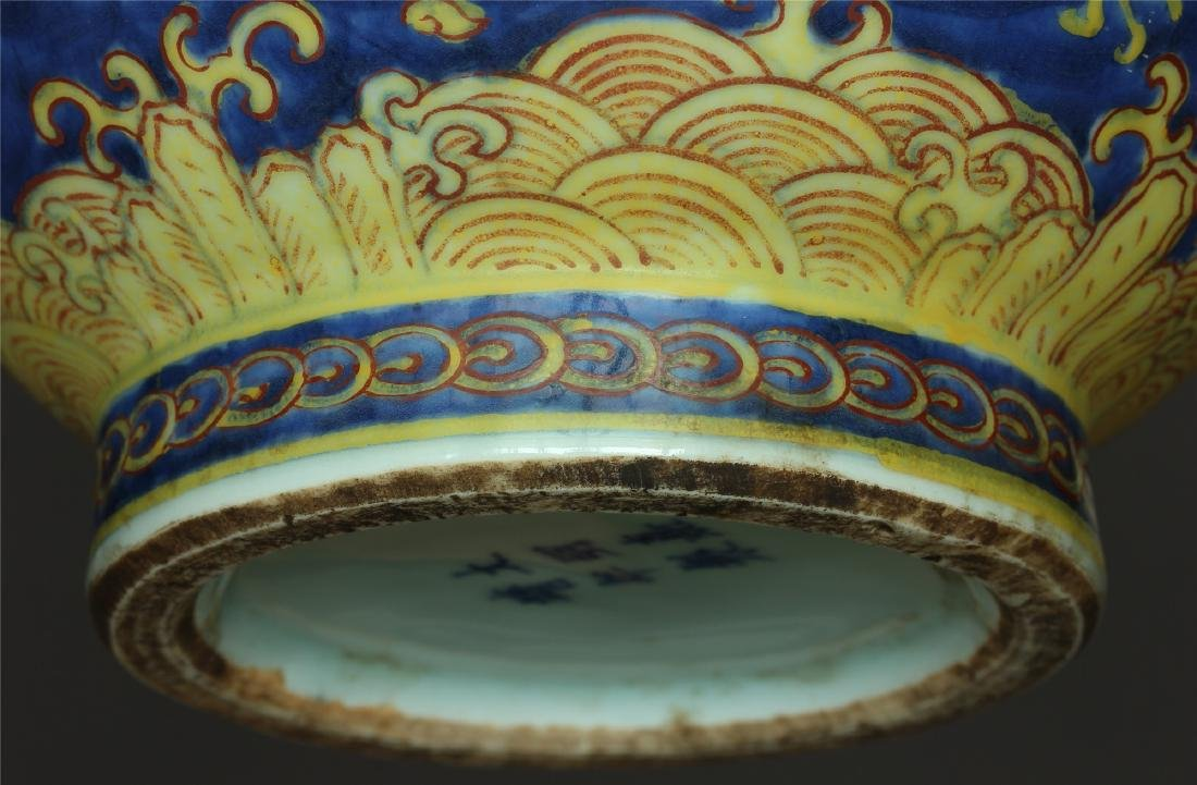 Blue and yellow color porcelain vase of Ming Dynasty - 8