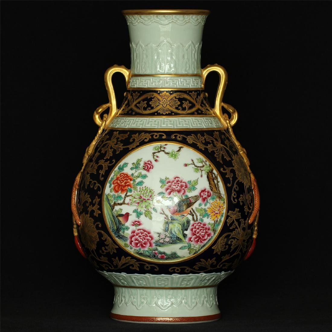 Black glaze gilt & famille rose porcelain vase of Qing
