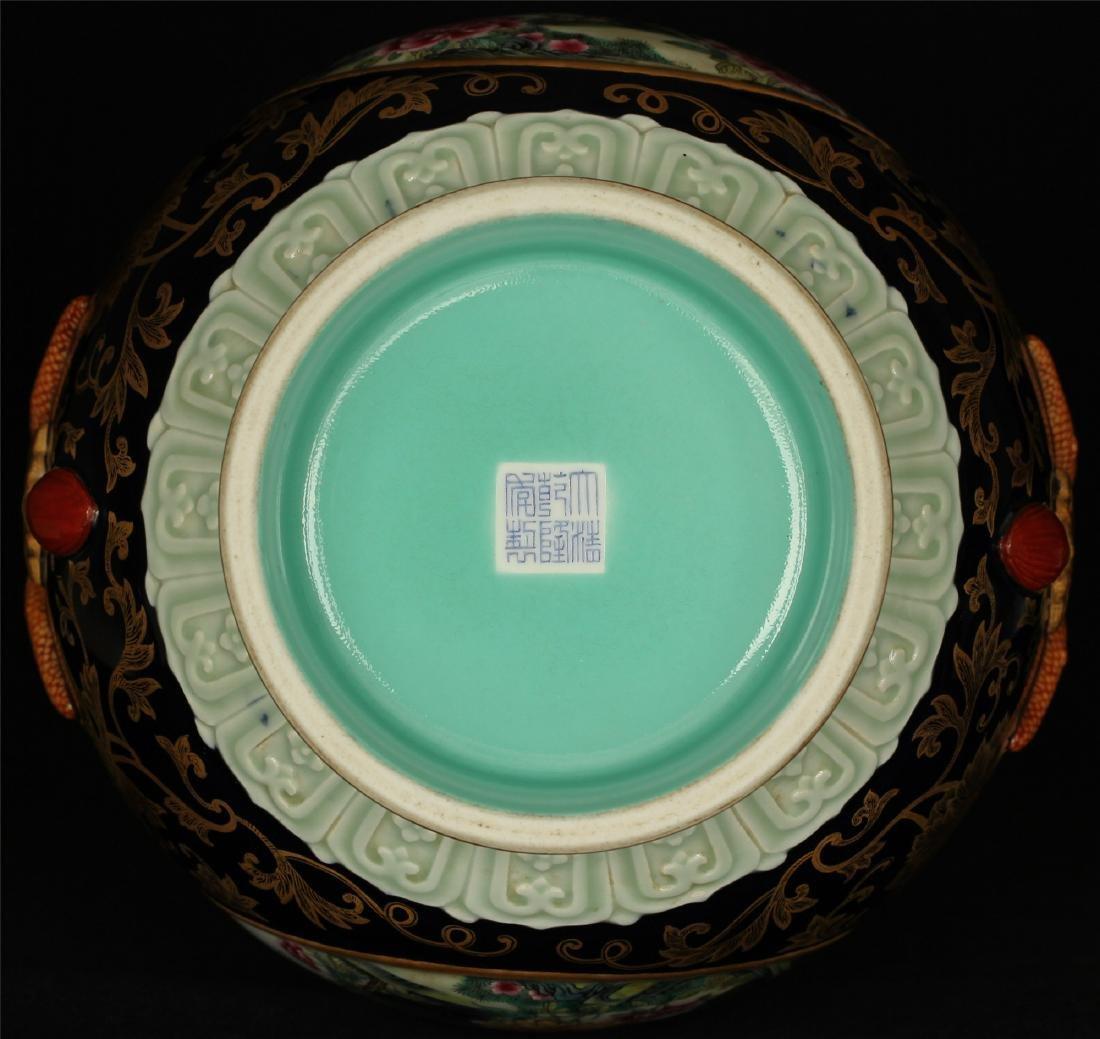 Black glaze gilt & famille rose porcelain vase of Qing - 2