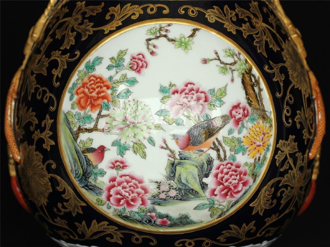 Black glaze gilt & famille rose porcelain vase of Qing - 3